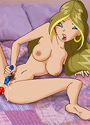 Flora Winx double fucks herself with some dildos