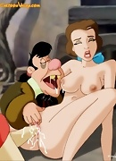 Belle, Gaston and Lefou in hardcore group sex. Belle`s pussy has to be so good to endure so much mistreatment.